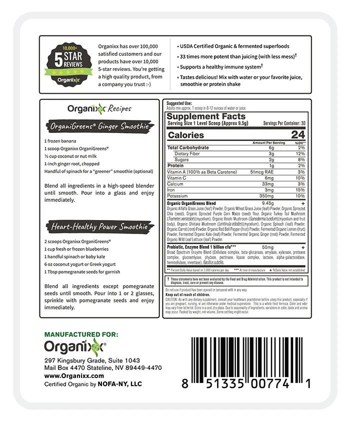 Organixx Organi Greens Ingredients